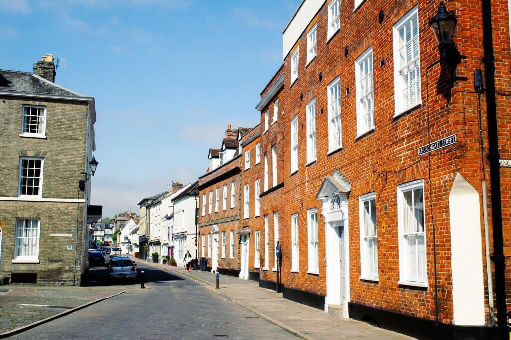 Tudor and georgian town houses in Bury St Edmunds, UK