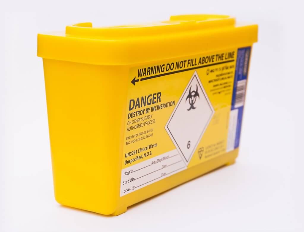 Clinical waste sharps bin